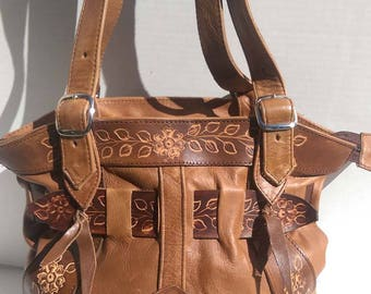 New!! Light-Coffee Brown, Leather Purses w/ Hand-tooled flowers by Don Adalberto Vega.  With Lined Straps! Each purse hand-made.