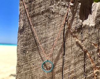 Turquoise Ring Necklace -  Circle Necklace - Silver Necklace - Turquoise Necklace - Ring Pendant - Turquoise Pendant - Gold Necklace