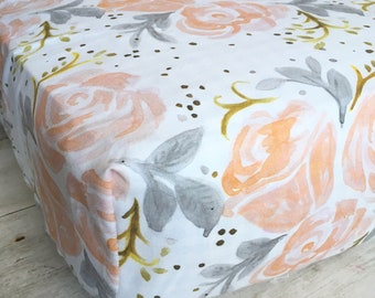 Blush, Gold, and Grey Roses Fitted Crib Sheet