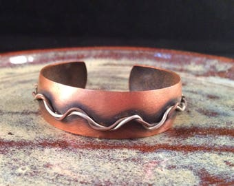 Copper Cuff bracelet with Sterling silver Accent