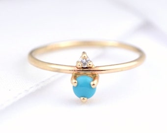 Turquoise and Diamond December Birthstone Mother's Ring | Eco-Friendly Stones 14k Recycled Gold | Minimal Modern Birthstone Mother's Ring