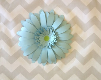 Set of 3 pastel blue giant paper flowers light blue roses pastel blue giant paper flower gerbera daisy baby shower decorations nursery wall decor photo backdrop 3 mightylinksfo