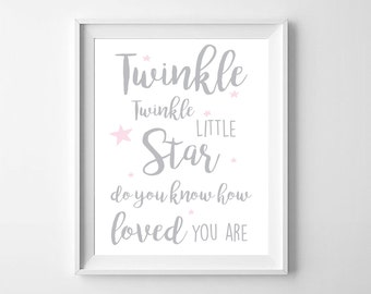 Twinkle Printable Nursery Wall Art,Printable Typography,Printable nursery,Twinkle Stars Girls Nursery,Black and White Nursery,Pink Decor