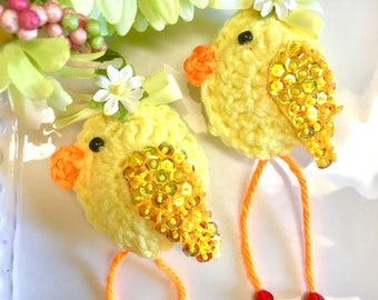 1 Crochet Beaded Shabby Chick, Bowl Fillers,  Easter Crochet Chick, Yellow, Plush Chicks, Plush Birds, Party Favors,
