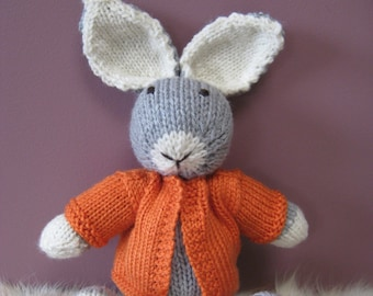 Bunny Rabbit Toy named Charlie, Hand Knitted with an Orange Jacket