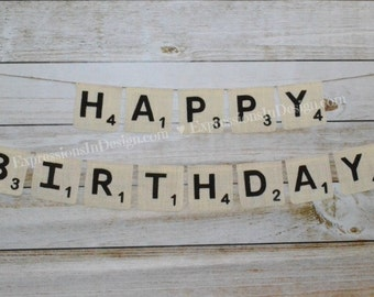 Birthday Banner - Scrabble banner - Happy Birthday Banner - Party sign - Scrabble sign