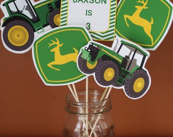 John Deere Theme - Centerpiece Skewers - Green Tractor, Green and Yellow - Birthday Centerpieces