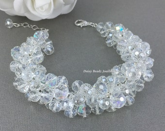 Bridesmaid Gift Set Crystal Bracelet Cluster Bracelet Chunky Jewelry Bridesmaid Jewelry Maid of Honor Bridal Party Jewelry Gift for Her