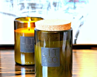 Grapefruit Mandarin Natural Soy Candle 10oz Recycled Wine Bottle Candle - Optional Cork Top - Citrus Candle - Wine Jar Candle