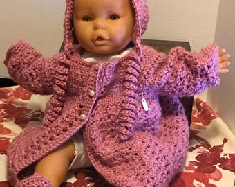 Crochet - Made to Order - baby sweater, bonnet and booties