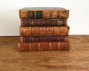 Lot 5 Decorative shabby antique vintage Brown Leather Hardcover Books. BOOK STACK Photo Prop. steampunk victorian medieval