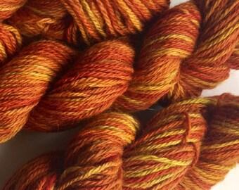 Luxury yarn hand dyed, merino alpaca yak handdyed yarn, worsted weight handprinted yarn, 126 yards, 50 grams