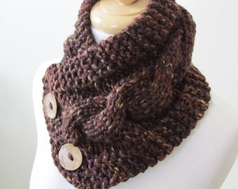 "Knit Neck Warmer, Cable Knit Scarf,  Chunky Warm Winter Scarf in Sequoia 6"" x 25"" - Coconut Shell Buttons Ready to Ship - Direct Checkout"