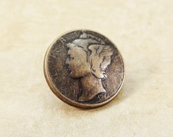 Replica Mercury Dime Metal Buttons 15mm Bronze Antique Brass Qty 3