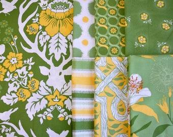 Destash quilt cotton fabric Deer Valley half yard bundle 7 pieces 1/2 yard each Green Yellow  White Joel Dewberry  out of print hard to find