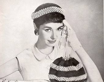Vintage Beaded Hat and Bag Pattern - CHICAGO