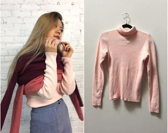 90s Gap millennial pink ribbed turtleneck / blush long sleeve turtle neck shirt / baby pink knit top