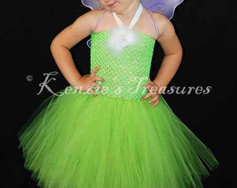 Tinkerbell Tutu Dress Costume - Includes Purple Wings - Size 2T to Girl's Size 6