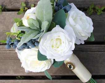 White Bridal Bouquet Real Touch Flowers Bouquet Wedding Flowers Ivory Satin Rhinestone decor