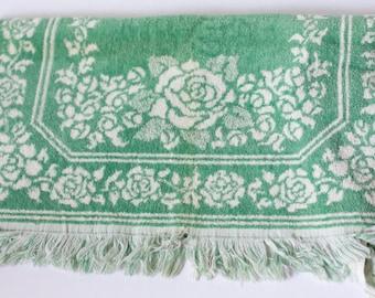 Vintage Bathroom Towel, Vintage Rose Towel, Vintage 1950s Towel, Vintage 50s Bathroom Towel, Vintage Floral Towel