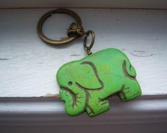 Elephant Keychain - Elephant Keyring -Green Turquoise Elephant Keychain - Lucky Elephant Keychain