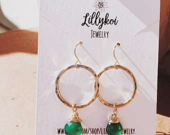 Mini Green Agate Hoops