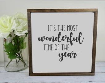 It's the Most Wonderful Time of the Year Wood Sign | 12x12 | Hand Painted | Framed | Christmas