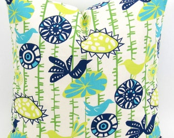 Menagerie Sunshine Pillow Cover -MANY SIZES- throw cushion sham Yellow Blue Green Turquoise birds flowers Premier Prints