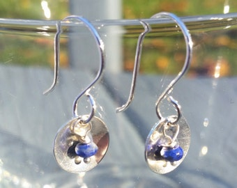Lapis Lazuli and Sterling Silver Saucer Earrings