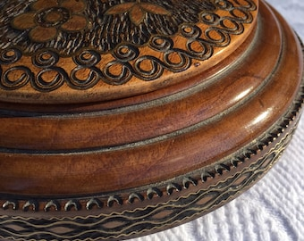 Vintage Carved Wood Round Box with Brass Detail