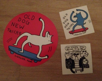 "Street Dawgz Sticker Set! Skateboard ""old dog new tricks"" Lizz Lunney Comics"