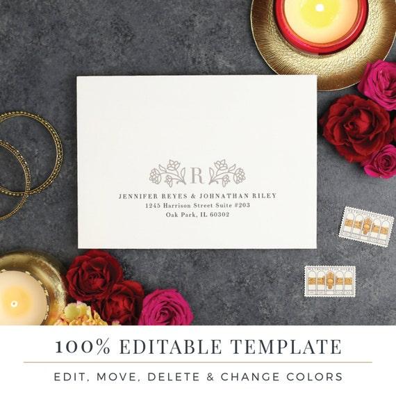 A Envelope Template Printable Wedding Envelope Word Or - A7 envelope printing template
