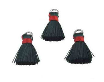 3 red and green tassels ring 22x10mm textile