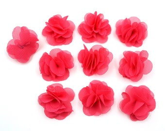 Set of 10 small veil fuchsia fabric flowers