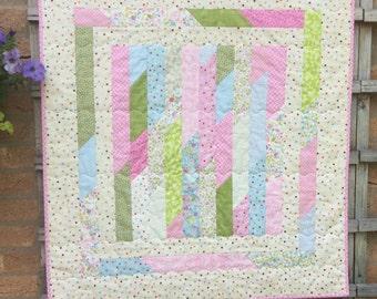 Handmade Baby Pink Girl Quilt.Jelly Roll Quilt. Home Decor.Stroller Quilt.Floor Quilt.Baby Shower.Nursery.Patchwork quilt.Small Quilt.