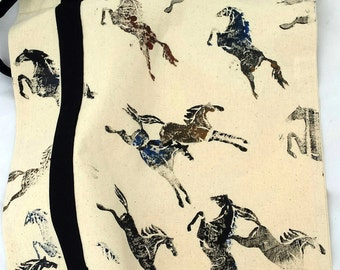 """Tote bag, Horses, equine art, hand created on cotton fabric by artist M Theresa Brown. Custom colored horses available, 14"""" x 14"""" OOAK"""