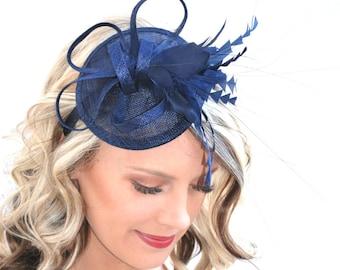 Navy Blue Fascinator, Womens Tea Party Hat, Church Hat, Derby Hat, Fancy Hat, Navy Blue Hat, Tea Party Hat, wedding hat