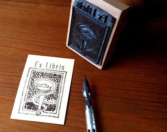 Medical Symbol Ex Libris Bookplate Stamp Aeskulap Snake Ex Libris Stamp with wooden holder - ready for shipping