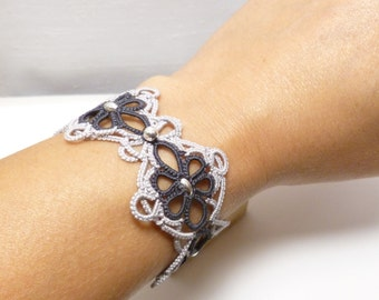 Handmade Tatting jewelry Lace Cuff Bracelet with Sterling beads -Celtic Baroque two color Snappy Tatter lacework