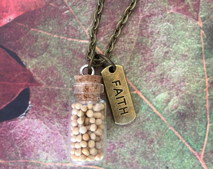 Mustard Seed Pendant with faith tag on antique bronze chain, Faith of a Mustard Seed Necklace, Christian Gifts, Scripture Matthew 17:20