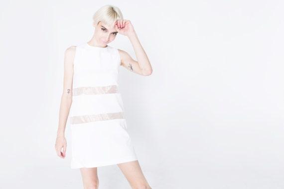 White Mod Dress Clear Strips 1960 Gogo 60s Dancer