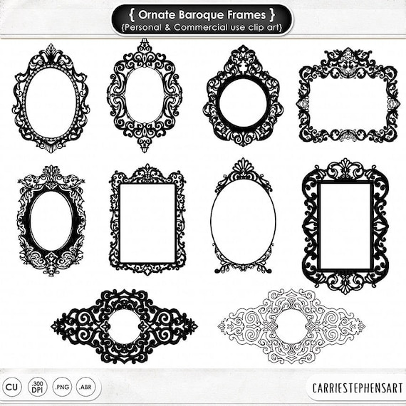 Ornate Baroque Frame Clip Art, Gothic Digital Frames, ClipArt ...