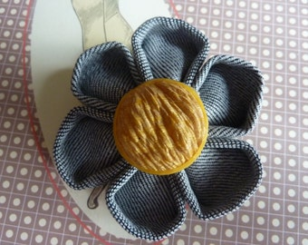 Fabric flower brooch kanzashi jeans with a beautiful yellow round button - Christmas Gift