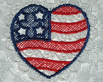 Six  Small Patriotic Lace Heart, red, white and blue