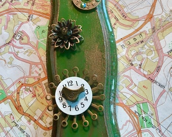Steampunk Green and Gold Mezuzah