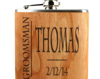 Real wood flask, groomsmen gift ideas, unique, wedding, personalized, classy