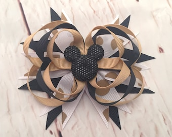 Minnie Mouse Hairbow, Black & Gold Minnie Hairbow, Black Minnie Hair Clip, Gold Disney Hairbow, Mickey Boutique Hairbow, Minnie Headband