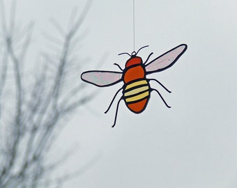 Drawn Antique Glass - Stained Glass Honey Bee - Unique Beekeeper Gift