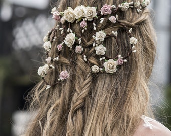 Flower Crown Wedding, Trailing hair vine, Wedding Flower Crown, Wedding Floral Crown, Blush Flower Crown, Boho wedding crown, Flower Crown