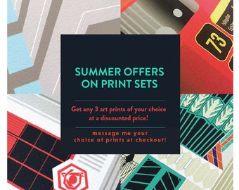 Summer Print Set offers on All Prints. Illustrated Posters of London. Housewarming Gifts - Gifts for Londoners - Music Posters